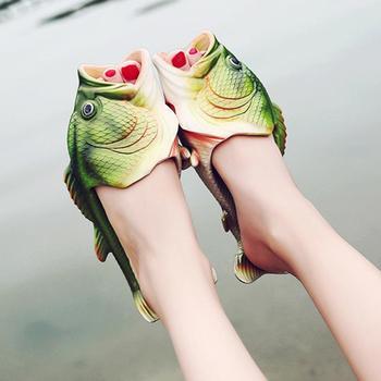 Обувь унисекс; креативная забавная рыба в форме пары; летние уличные тапочки для мужчин и женщин; пляжная обувь