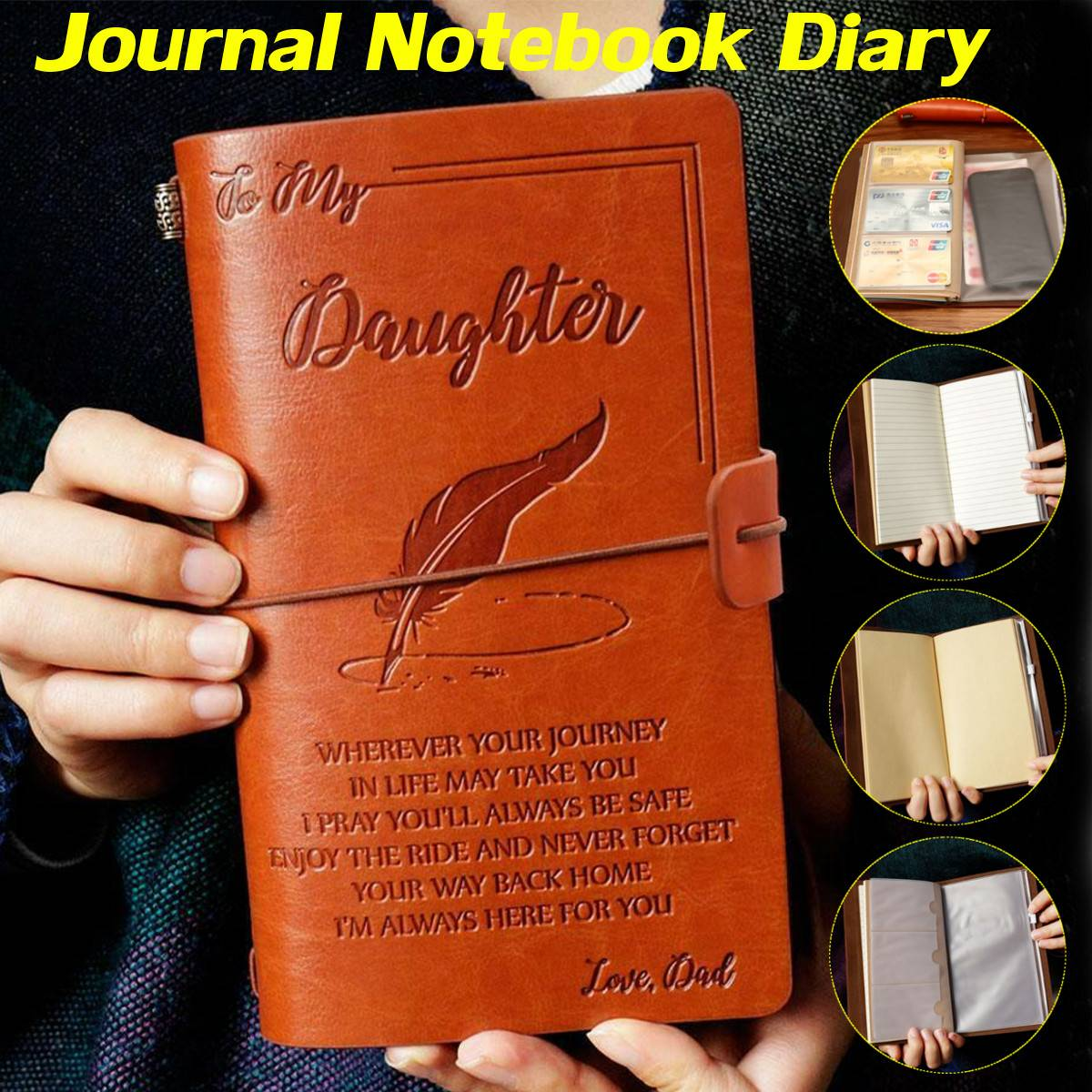 20x12cm Engraved Leather Journal Notebook Diary To My Daughter Face Challenges Love Dad Engraved Notebook Diary
