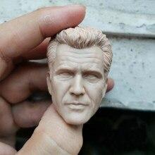 Em branco 1/6 escala arma letal mel colúcille gerard gibson cabeça esculpir sem pintura caber 12