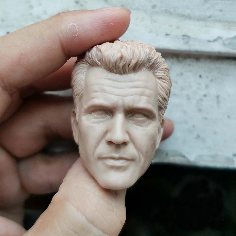 "Em branco 1/6 escala arma letal mel colúcille gerard gibson cabeça esculpir sem pintura caber 12 ""figura"