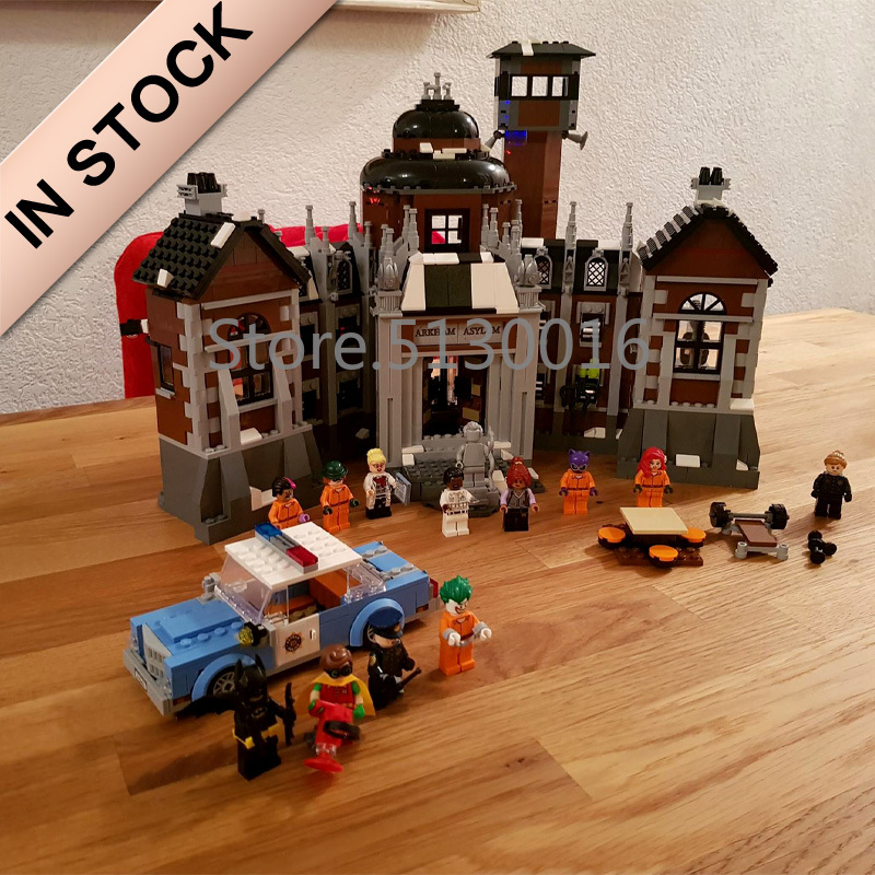 In stock 07055 Batman Movie The Arkham Asylum Madhouse 1703Pcs Building Blocks Compatible with <font><b>70912</b></font> Bricks DC Christmas Gifts image