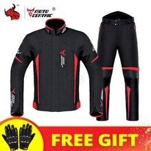 Su geçirmez motosiklet ceket + pantolon takım elbise yaz kış vücut zırhı koruyucu donanım motokros ceket Moto koruma ekipmanları