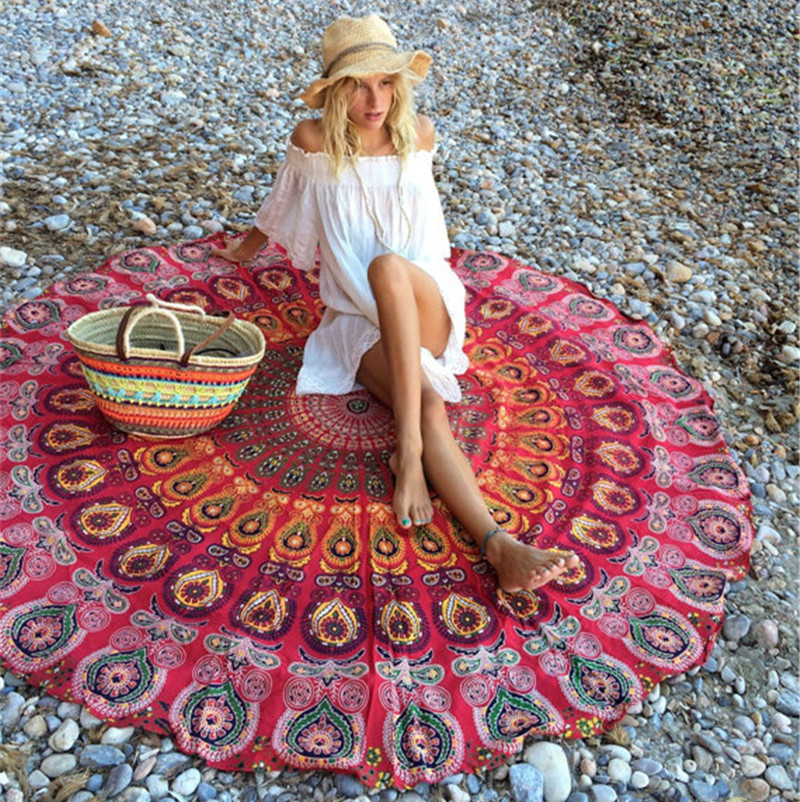 Hot Selling Europe And America Cotton Printed Beach Mat Circle Beach Skirt Bikini Outer Blouse Outdoor Holiday Skirt