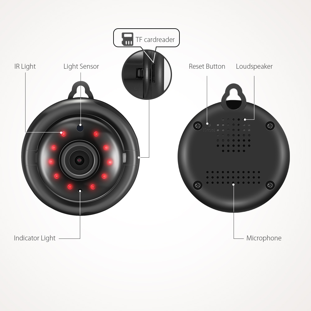 DIGOO DG-MYQ 2.1mm Lens 720 P Kablosuz Mini WIFI Gece Görüş - Güvenlik ve Koruma - Fotoğraf 6