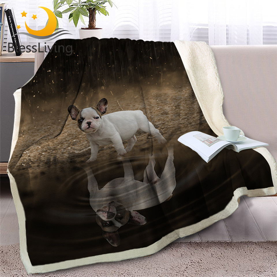 BlessLiving Pug Sherpa Blanket on Beds Animal Throw Blanket for Kids Dog Reflection Bedspread 3D French Bulldog Puppy Sofa Cover