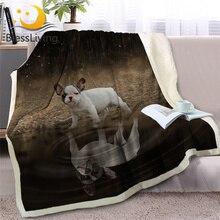 BlessLiving Pug Sherpa ผ้าห่มเตียงสัตว์โยนผ้าห่มสำหรับสุนัขสุนัข Reflection ผ้าคลุมเตียง 3D ภาษาฝรั่งเศส Bulldog ลูกสุนัขโซฟา