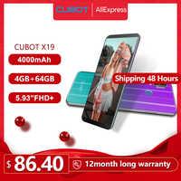 "Cubot X19 Helio P23 Octa-Core Smartphone Cámara Dual 16MP 5,93 ""2160*1080 FHD + identificación facial 4000mAh Batería grande de 4GB + 64GB Celular"