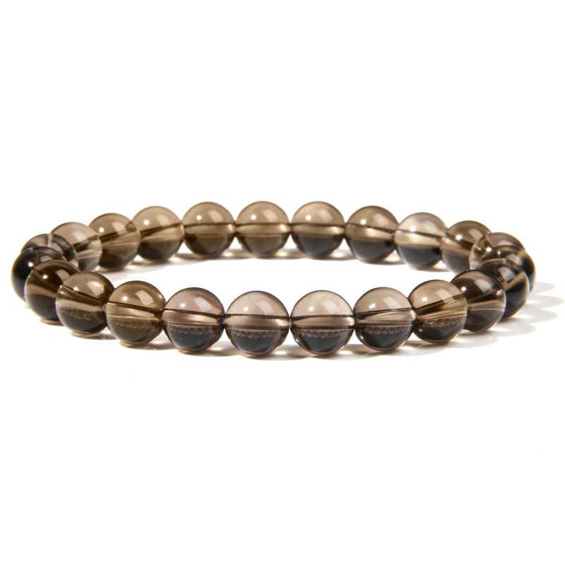 Dumanlı kuvars boncuk Nracelet doğal taş siyah kristal bilezik boncuklu bilezik erkekler kadınlar için yarı değerli taş takı