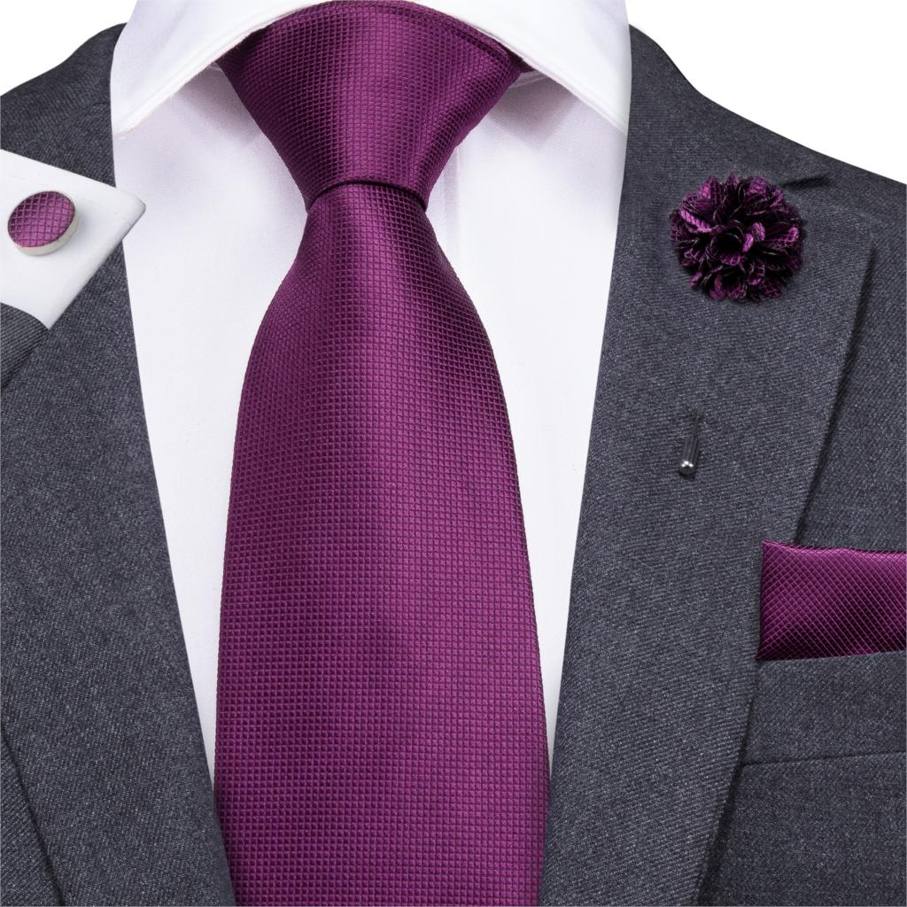 Hi-Tie 8.5cm Men Tie Solid Purple Neck Ties Set Boutonniere Pocket Square Cufflink Gift Box For Wedding Party Formal Suit Cravat