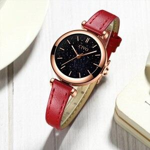 Image 4 - CIVO นาฬิกาผู้หญิง Montre Femme 2019 แบรนด์นาฬิกาข้อมือควอตซ์นาฬิกาสุภาพสตรีนาฬิกาสุดหรูสายหนังสีแดงนาฬิกากันน้ำ 8104