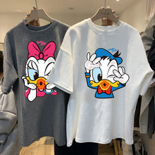 Disney Kawaii Donald Ente T-shirts Frauen Schwarz Tops Damen Casual O Neck T-shirt Frauen Koreanischen Stil Harajuku Kleidung