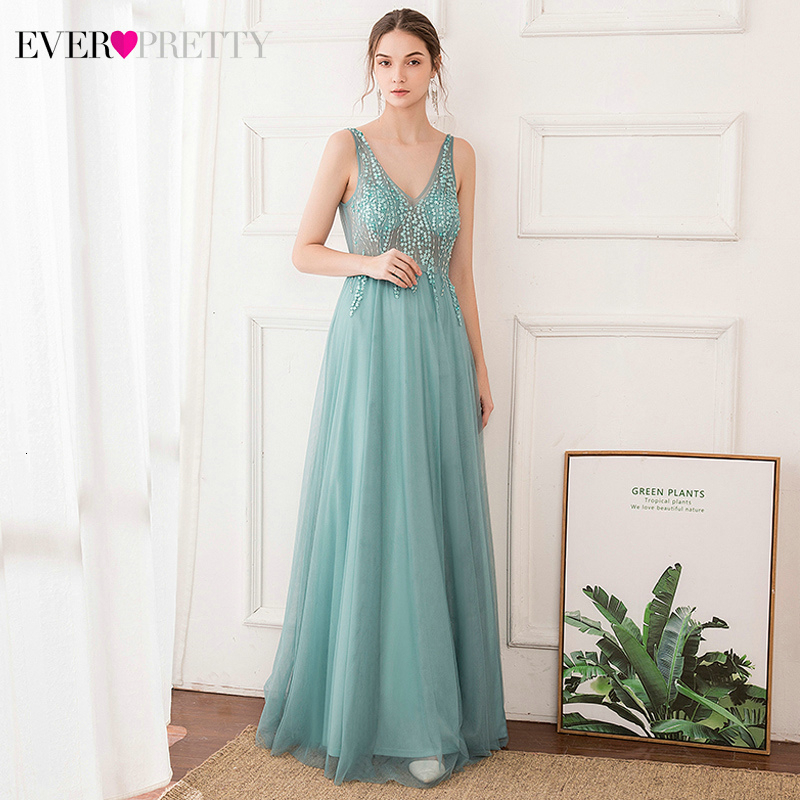 Custom Elegant Evening Dresses Ever Pretty EP00875DB Double V-Neck Floral Beaded Sleeveless Tulle Long Party Gowns Lange Jurk