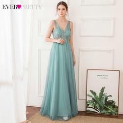 Niestandardowe eleganckie suknie wieczorowe kiedykolwiek dość EP00875DB podwójny dekolt w serek kwiatowy zroszony bez rękawów tiul długie suknie na imprezę Lange Jurk