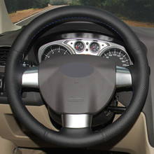Hkoade mão-costurado preto cobertura de volante de couro artificial para ford focus 2 2011 2010 2009 2008 2007 2006 2005 (3 raios)