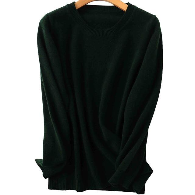 100% Merino Wool Cashmere Sweater Women 2020 Autumn Winter Warm Soft O-Neck Long Sleeve Knitted Pullover Jumper Femme Sweater 6
