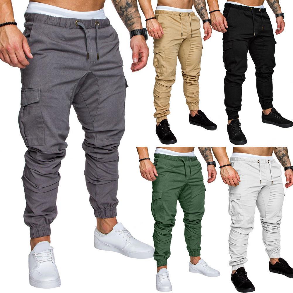Plus Size Men Casual Solid Color Waist Drawstring Multi Pockets Long Cargo Pants Waist Drawstring Multi Pockets Long Cargo Pants