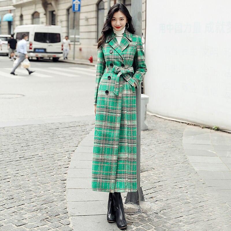 Купить женское длинное пальто с отложным воротником элегантное зеленое