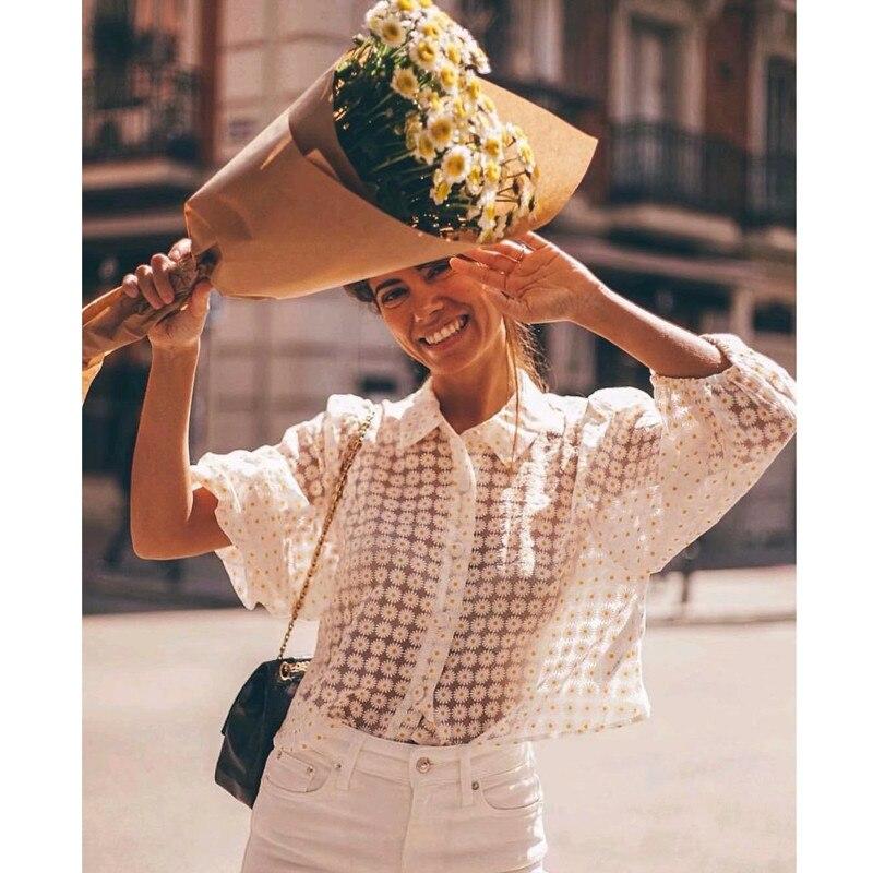 Женская прозрачная блузка с рукавами-фонариками и отложным воротником