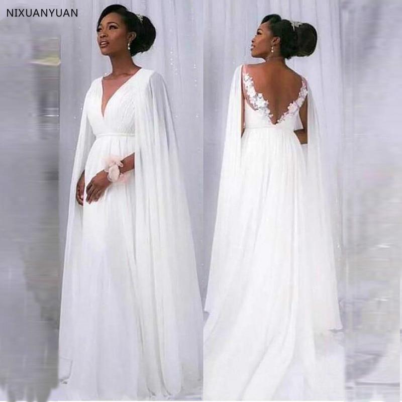 Boho Style A-Line Simple Pregnant Wedding Dress 2020 New Arrival Deep V-neck Applique With Flowers Wedding Dress