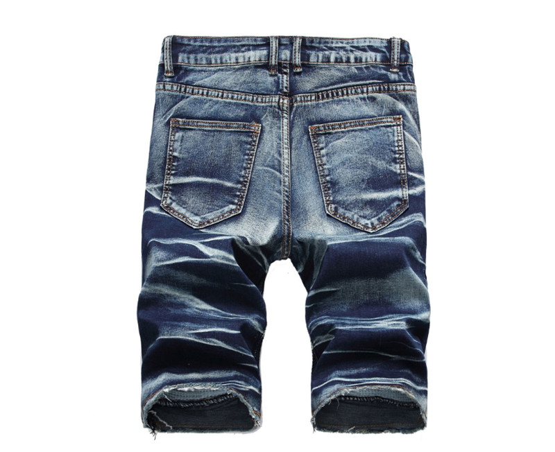 Biker Short Men 39 s Fashion Ripped Straight Denim Shorts Vintage Patch Jeans Short New Male Shorts plus size 42 in Jeans from Men 39 s Clothing
