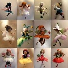 Jiwuo新妖精キーチェーン人形ウール動物つつい非完成品手作りペット玩具フェルト動物針フェルトフェルトバッグ