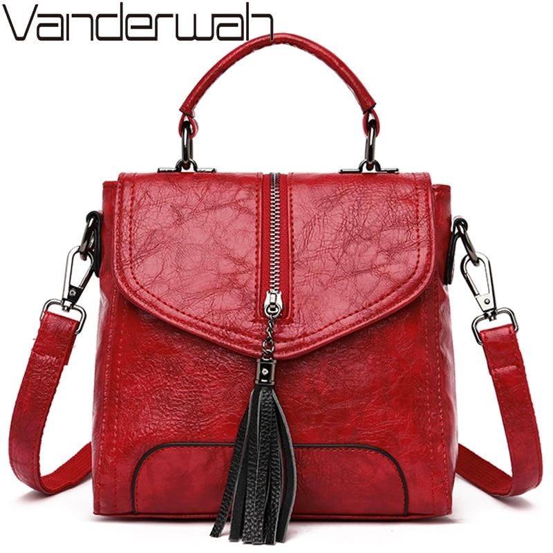 Women Backpack Tassel Vintage Shoulder Bag Leather Backpacks Female Multi-function School Bags For Girls Mochilas Mujer 2019