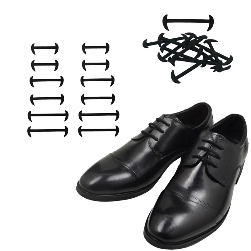 12 Pcs No Tie Shoelaces Elastic Silicone Shoe Laces Fashion Leather Shoes Simple Rubber Shoelace Leisure Fast Lazy Laces 3 Color