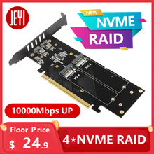Jeyi ihyper placa de vídeo, m.2 x16 para 4x nvme pcie 3.0 gen3 x16 para 4 * nvme cartão raid pci-e 105c hyper m.2x16 m2x16 4x x4 nvme * 4 raid