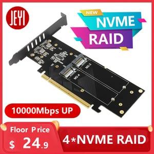 JEYI iHyper m.2 X16 TO 4X NVME PCIE3.0 GEN3 X16 TO 4*NVME RAID CARD PCI-E VROC CARD RAID Hyper M.2X16 M2X16 4X X4 NVME*4 RAID