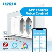 Livolo C9 nos pared estándar táctil interruptor 2way Zigbee Wifi inteligente de control inalámbrico blanco de cristal de vidrio con doble 10A Brasil enchufes