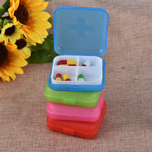 Hot Jual 2020 1 Pcs Make Up Case Penyimpanan Wadah 4 Slot Case Penyimpanan Lipat Vitamin Obat Obat Pil Kotak(China)