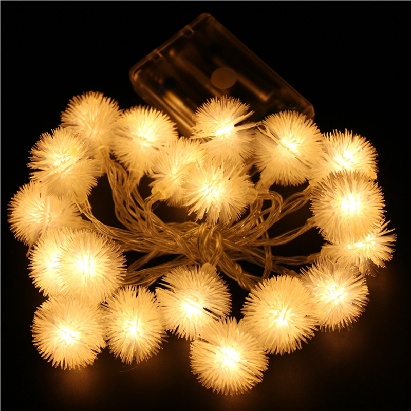 Decoration String Lights 1m 10leds 2m 20leds 20m160leds  Fur Balls Lamp For Indoor Outdoor Garden Christmas Party Lights