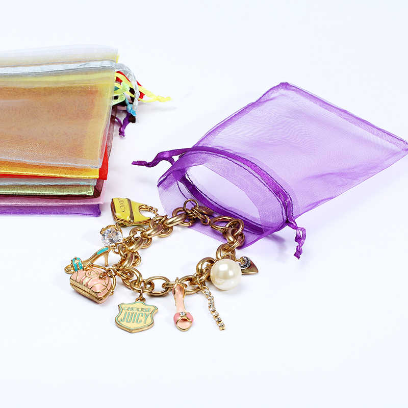 7x9cm 50 sztuk/partia małe i duże torby Organza torby ślubne torby do pakowania biżuterii urodziny prezent na boże narodzenie torby Tulle