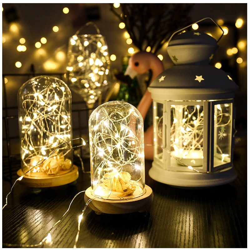 YINUO <font><b>LIGHT</b></font> 2/3/4M Copper Wire LED String <font><b>Lights</b></font> Battery Garland Fairy <font><b>Lights</b></font> Holiday Lighting Christmas Wedding <font><b>Home</b></font> <font><b>Decoration</b></font> image