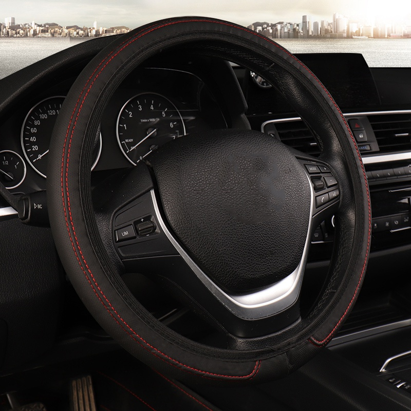 Car Covers DIY Car Steering Wheel Cover Leather Streamlined Elastic Type Without Inner Ring Car Steering Wheel Cover
