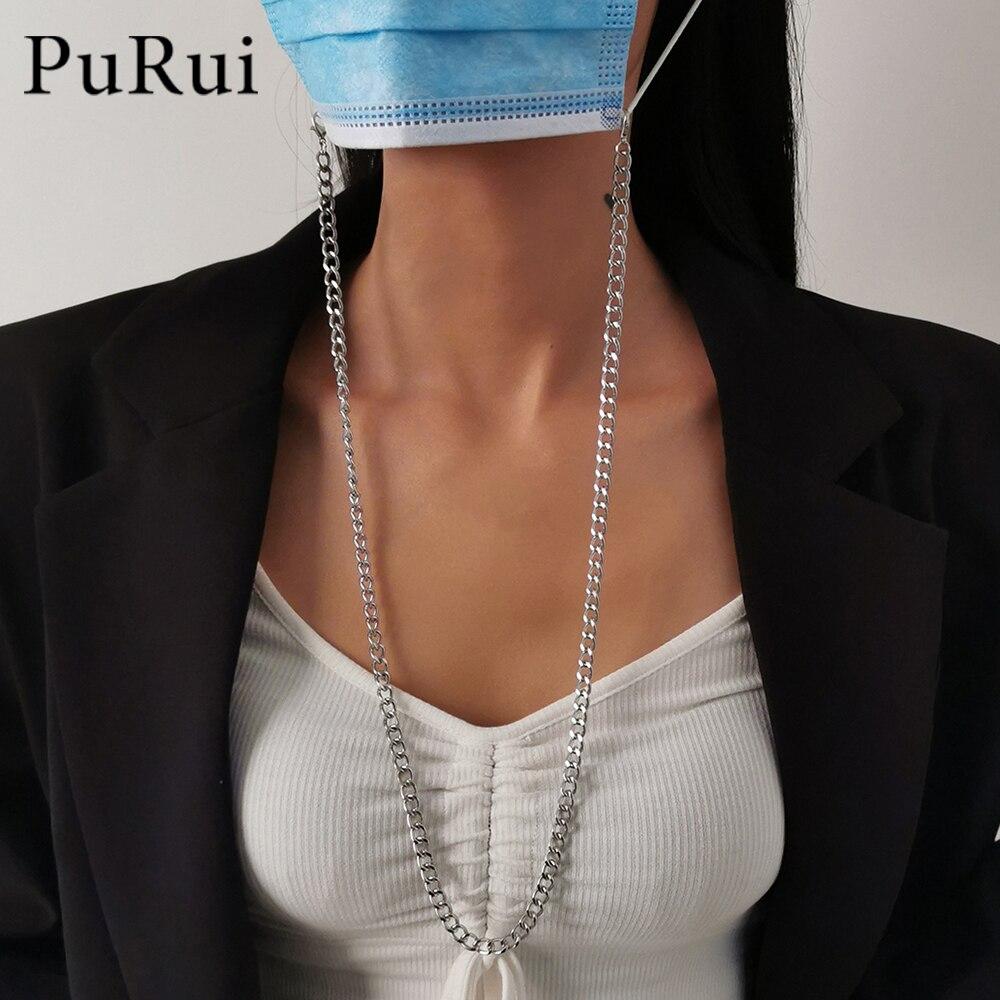 2021 простой панк Солнцезащитные очки Маскировка цепи для Для женщин Девушка маска для лица с застёжкой-карабином новые стильные тесёмки оптом цепочка для очков для чтения бретелей через шею шнур маски держатель