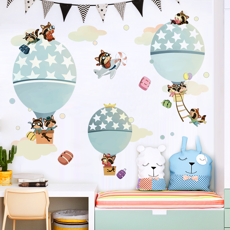 Wall Stickers For Kids Rooms Bedroom Decor Hot Air Balloon,Cartoon Animal Airplane Modern Home Decoration Stickers Baby Diy Art