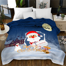 merry Christmas blanket Flannel Fabric 150x200cm Sofa Bed Throw Blanket Kid Adult Warm Blanket christmas snowscape moon flannel throw blanket