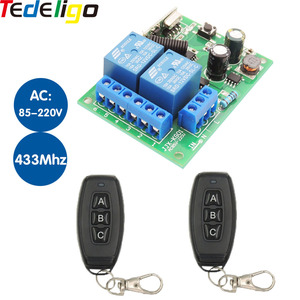433mhz Remote Control Garage Gate Door By Momentary/Latched Control with AC 85V~250V 10A Relay Receiver and Up To 50m Control