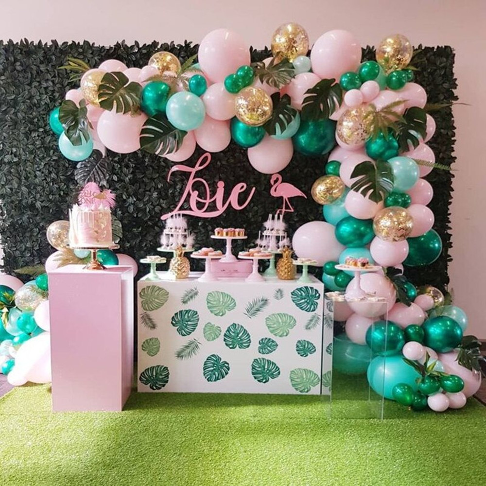 Джунгли принадлежности для тематической вечеринки зеленого, розового цвета латексные воздушные шары-гирлянды арочный комплект фламинго, х...