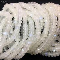 AKAC approx 3 4*6mm natural moonstone faceted rondelle bracelet for women bracelet send randomly