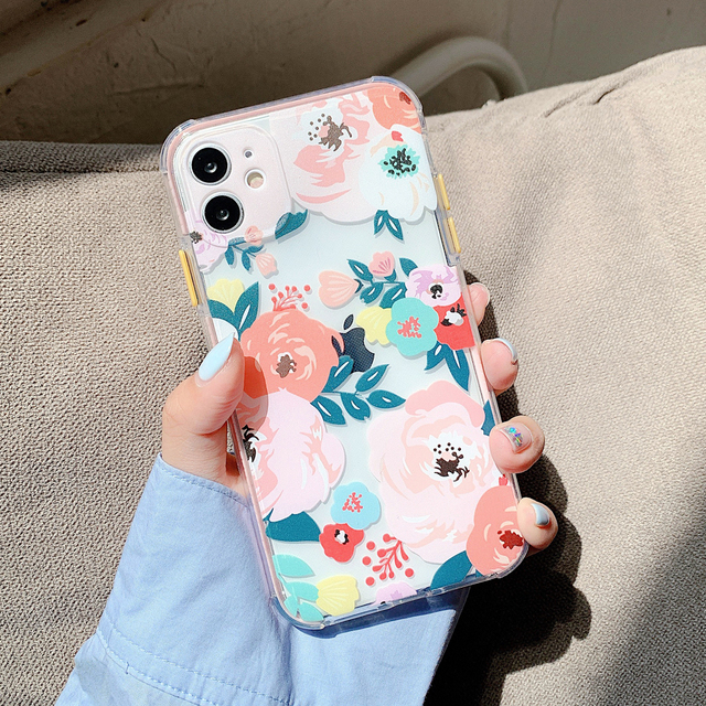oil painting Transparent peony Flower Phone Case For iPhone 11 12 Pro Max 7 8Plus X XR XS Max TPU Plant Leaves Floral Back Cover