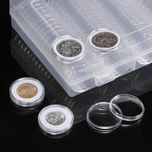 100pcs/Set Diameter 30mm Round Transparent Coin Collection Storage Box Crafts Containers Storage Cases Capsules Holder