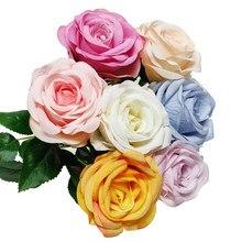 1 Oddział Sztuc Kwiaty Slub Dekoracia Domu sztuczna Różane Zaopatrzenie firmy Wysokiej Jakości Festiwal Prezent 7 Kolorów 1 o
