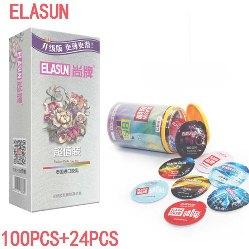 Elasun 100 pieces / pack ultra-thin condom big oil natural latex condom8 in 124 pcs condom 8 in 1 ultra thin condom elasun 100