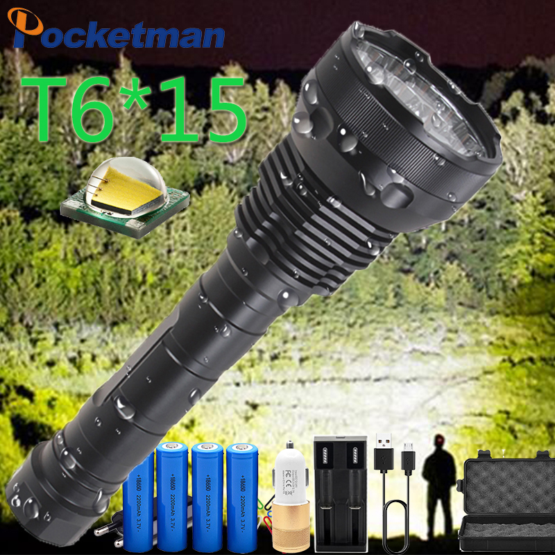 Most Powerful 8800mA Battery LED Flashlight High Power 15 X XM-T6 XHP70.2 5 Modes Electricity Display Lanterna Torch Waterproof