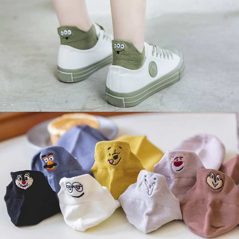 1 Pair Kawaii Expression Funny Embroidered Women Socks Cartoon Cute Socks Women Dropshipping
