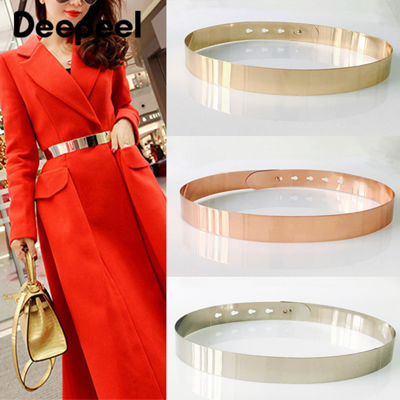 Deepeel 1pc Width 1-7cmXlong 82cm Stylish Metal Mirror Cummerbunds Coat Skirt Decorative Waist Chain Process Accessories Belt