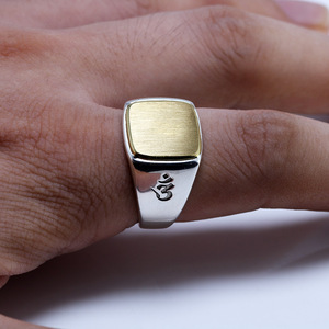 Image 5 - Genuine Solid 925 Sterling Silver Mens Signet OM Rings Simple Smooth Design Mantra Buddhist Jewelry