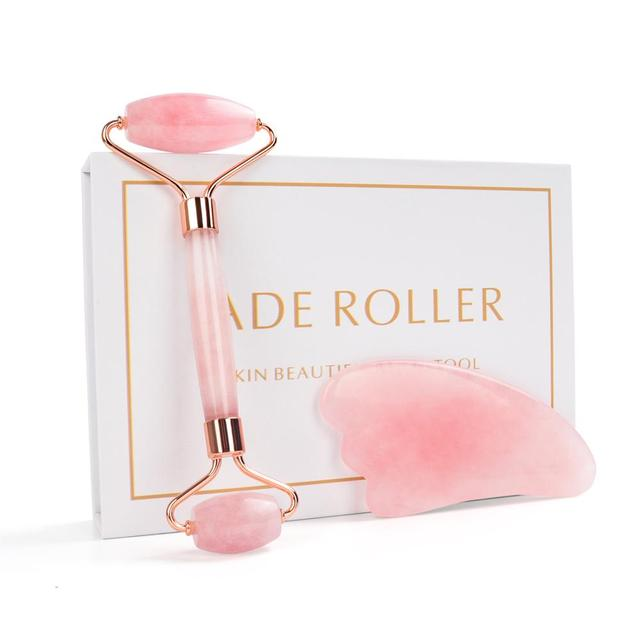 Noiseless Rose Quartz Roller Slimming Face Massager Lifting Natural Jade Facial Massage Roller Stone Skin Massage Tool Girl gift